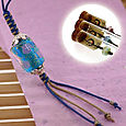 Tombodama Glass Beads Hand-Made Cell Phone Strap Light Blue Rose