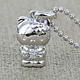 [Sanrio Hello Kitty Jewelry] Birthstone in Silver Kitty Necklace (April/ Diamond)