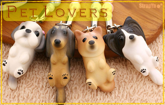 Pet Lovers Japanese Hand-made Clay Cats, Dogs & Adorable Animals from Zoo! Cell Phone Strap