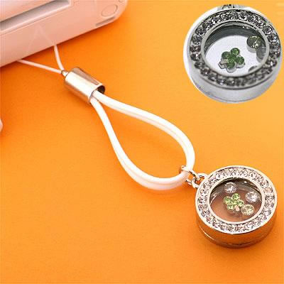 Brilliant Jewelry Box Cell Phone Strap (Rounded Box & White)