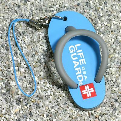 Cool Summer Flip-Flop Sandal Rubber Phone Strap (Life Guard Sky)