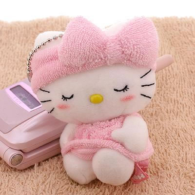 Sanrio Hello Kitty Bath Time! Towel Kitty Stuffed Toy Ball Chain (Sitting)